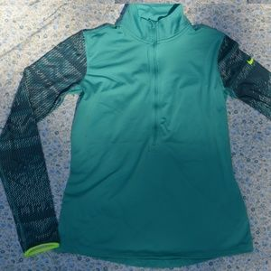 Nike Pro Teal Warm Long Sleeve Shirt Fleece Zip L